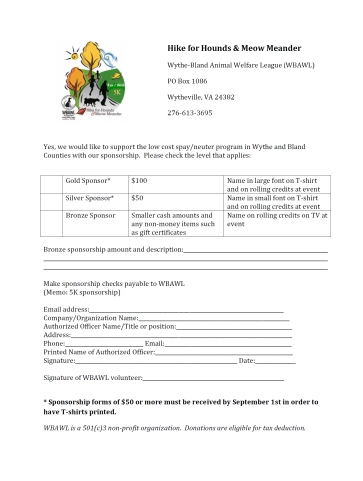 Printable Sponsorship Form  Printable Sponsor Forms